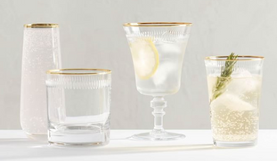 Etched Gold Rim Glassware Collection