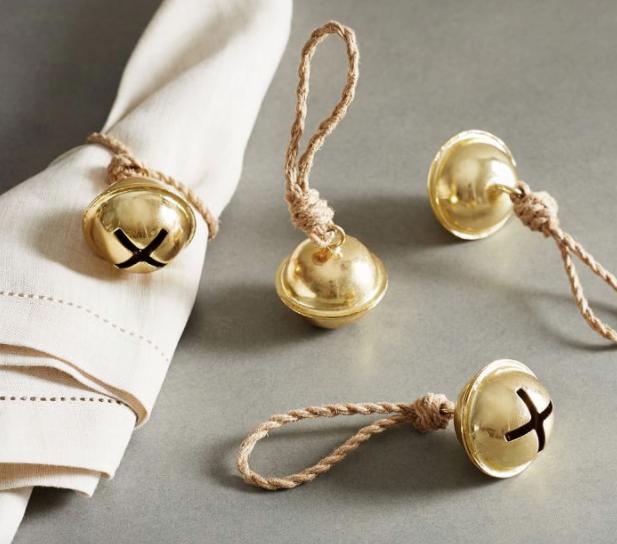 Jingle Bell Twine Napkin Rings, Set of 4