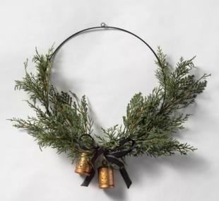 Faux Cedar Hoop Wreath with Ribbon Bell