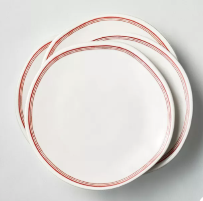 Border Stripes Stoneware Salad Plate Red/Sour Cream