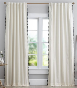 Natural Linen Pom Pom Blackout Curtain