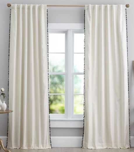 Natural Linen Pom Pom Blackout Curtain