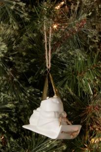 Ceramic Gold Hat Sledding Gnome White Christmas Tree Ornament