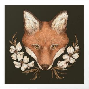 The Fox and Dogwoods Art Print