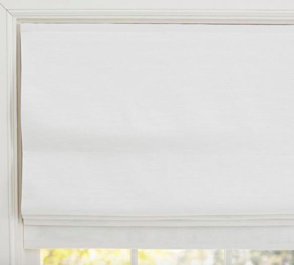 Emery Linen/Cotton Cordless Roman Shade - White