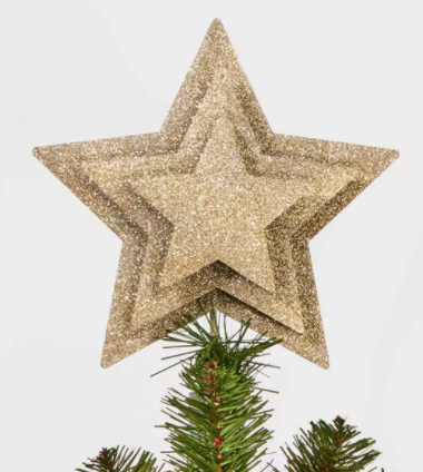 Unlit Multi-Layer Star Tree Topper Champagne Gold