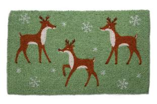 Merry Prancing Deer Reindeer Snowflake Christmas Doormat