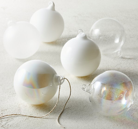 Set of 6 Winter Luster Ornament Set