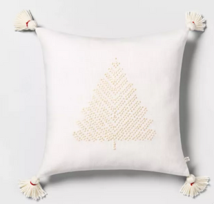 Tree Embroidered Toss Pillow Tonal Cream with Tassels