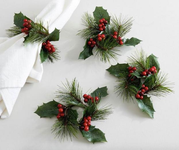 Botanical Evergreen Napkin Rings - Set of 4
