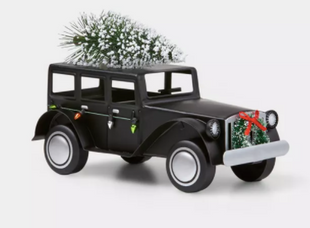 Small Rolls Royce with Christmas Tree on Top Decorative Figurine Black