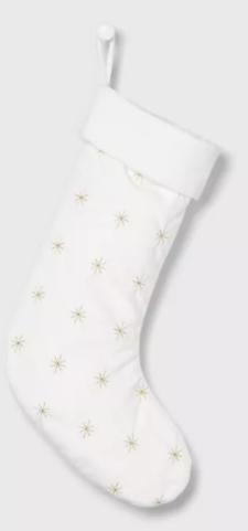 Luxe Gold Starburst Velvet Christmas Stocking White