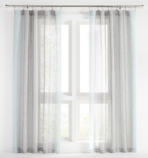 Deseray Light Blue Mesh Curtain Panel