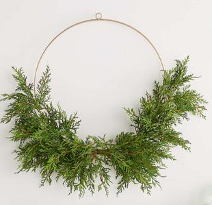 Pre-Lit Hemlock Pine Hoop Wreath