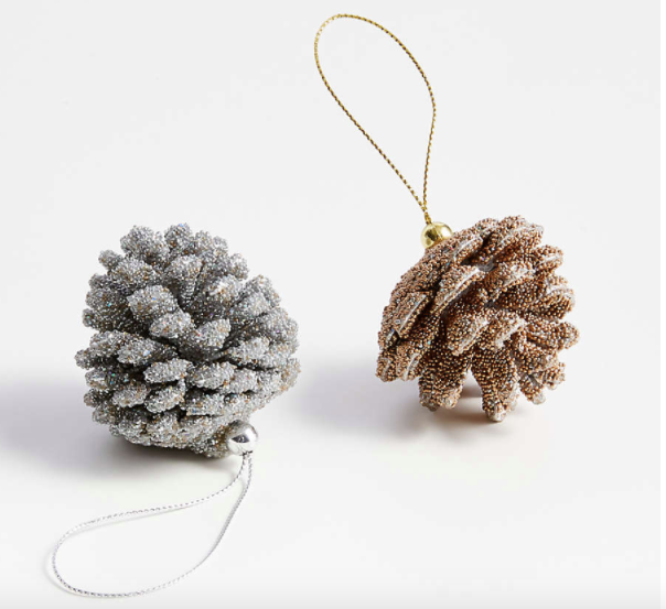 Gold and Silver-Beaded Glitter Pinecone Ornaments