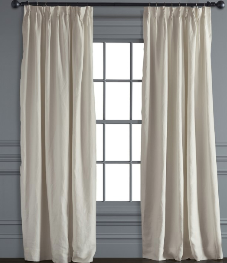 Belgian Linen Pinch Pleat Drape, Ivory