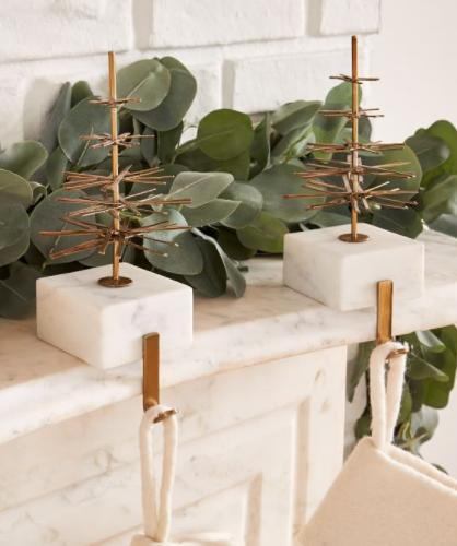 Modern Marble & Brass Stocking Holder