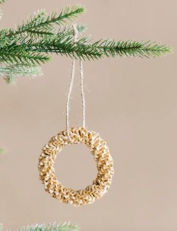 Woven Straw Wreath Ornament