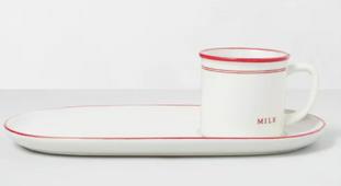 Stoneware Cookies & Milk Plate Set Red/Sour Cream