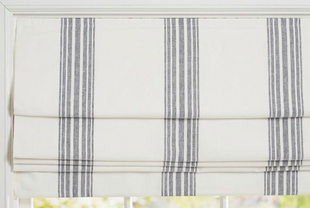 Charcoal Riviera Striped Linen/Cotton Cordless Roman Shade