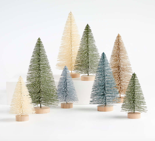 Sage and Silver Bottle Brush Christmas Trees, Set of 8