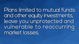 Traditional plans limited to mutual funds and other equity investments leave you unprotected and vulnerable to reoccurring  market losses.