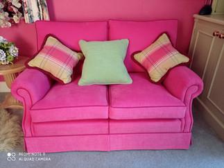 Two Seater Sofa reupholstered in Romo Linara Fabric