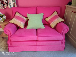 Two Seater Sofa reupholstered in Romo Linara Fabric