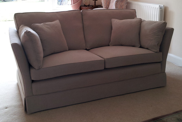 Two Seater Sofa reupholstered in Romo Leoni fabric