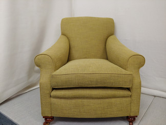 Antique Armchair reupholstered Cotton blend in fabric