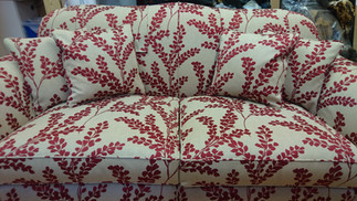 Three seater sofa reupholstered and cover in Romo Floral fabric