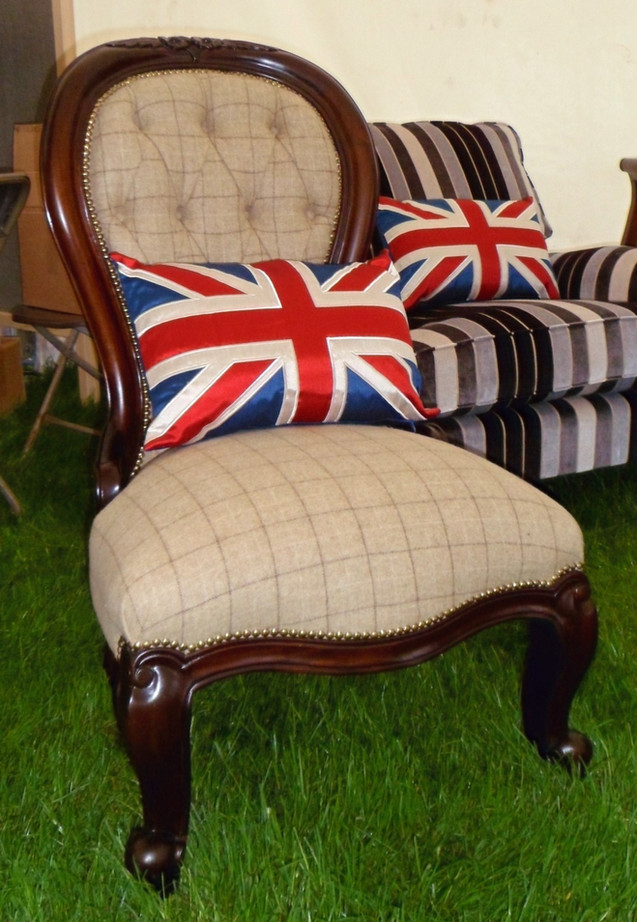 Buttoned back chair in Abraham Moon Fabric
