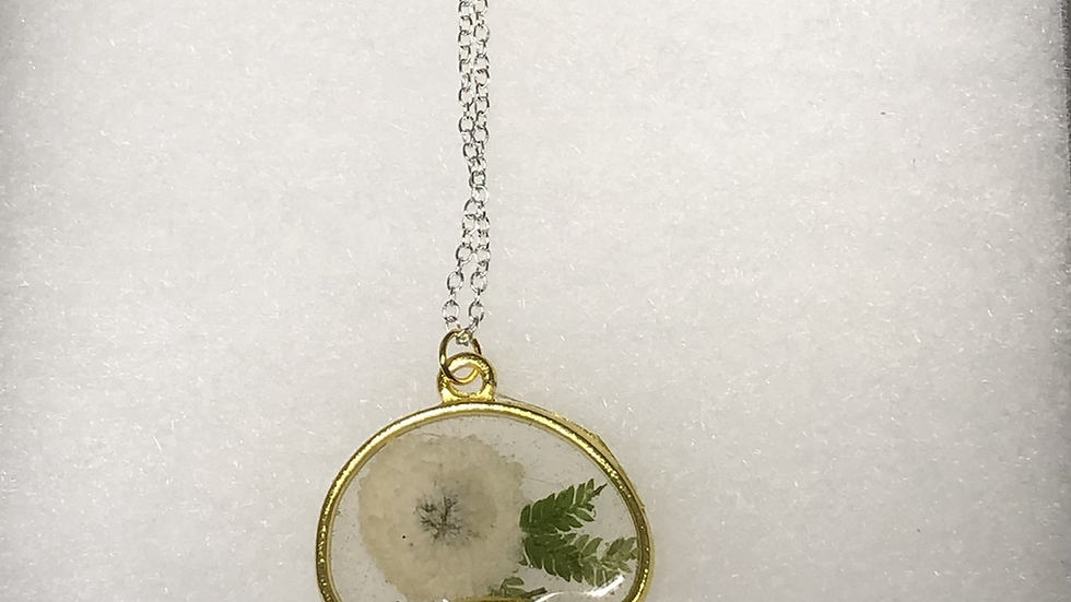 Gorgeous Flower Fern Casted Mushroom Necklace