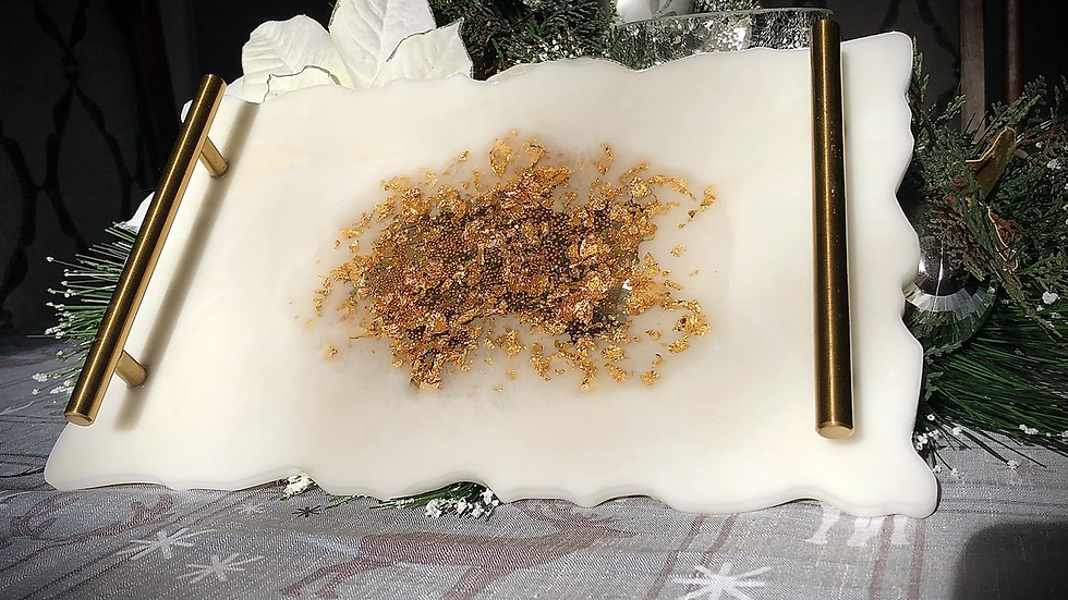 White and Gold Detail Serving Tray