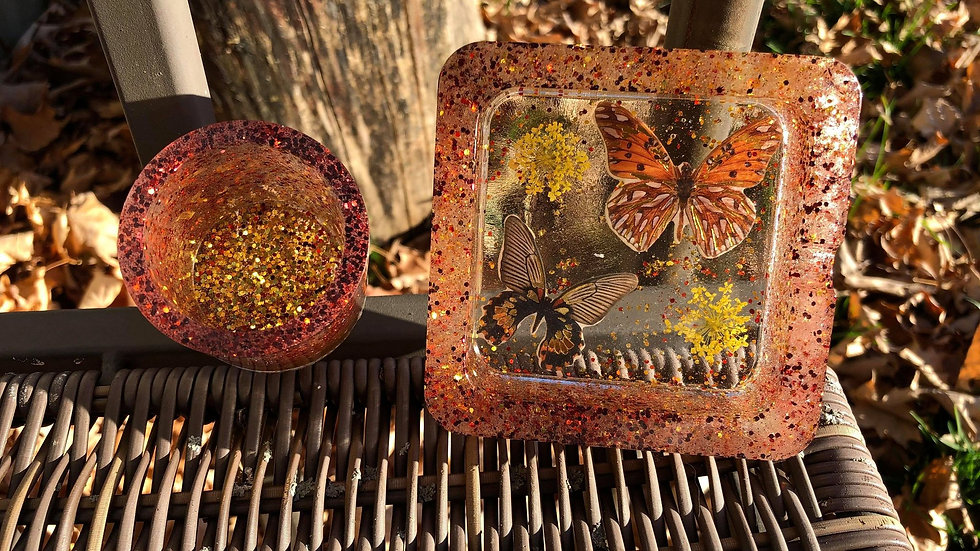 Butterfly Ashtray/Dish with Matching Cup