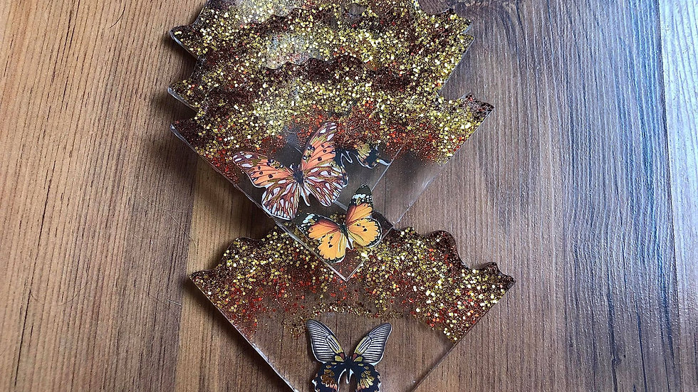 Available for Preorder/ Glitter Butterfly Coaster Set