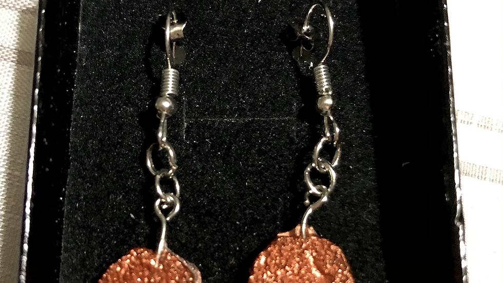 Copper Resin Geode Stone Earrings