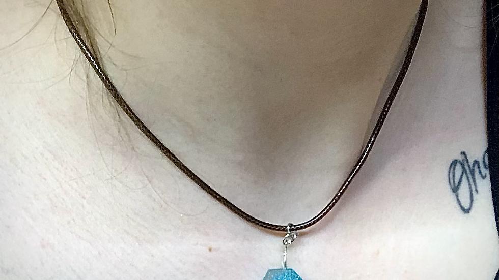 Aquamarine Resin Geode Stone Necklace