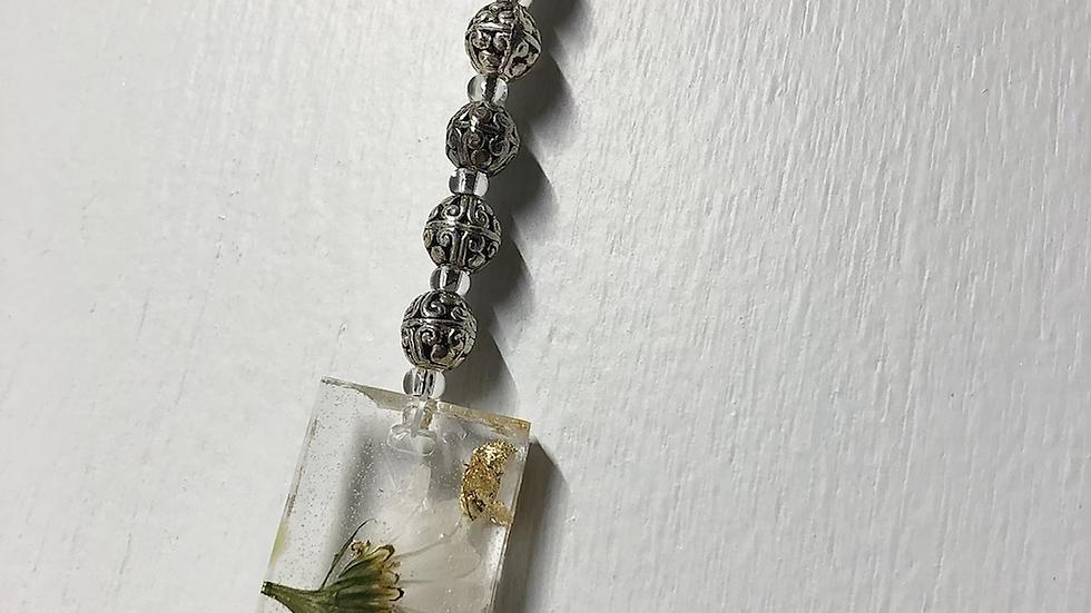 Daisy Silver Bead Keychain/Window Hanger