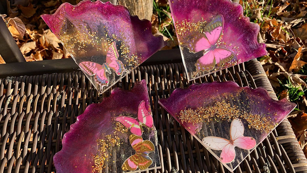 Magenta  with Light Pink Butterflies with Gold Flake Coaster Set Decor