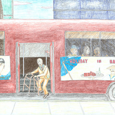 man getting off bus