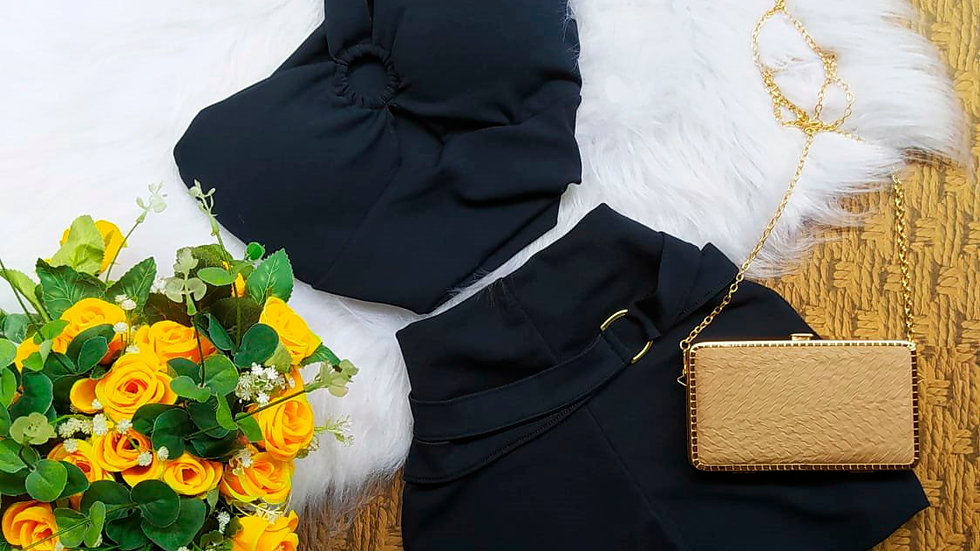 Conjunto Short Feminino e Cropped Blusinha com Bojo Bull