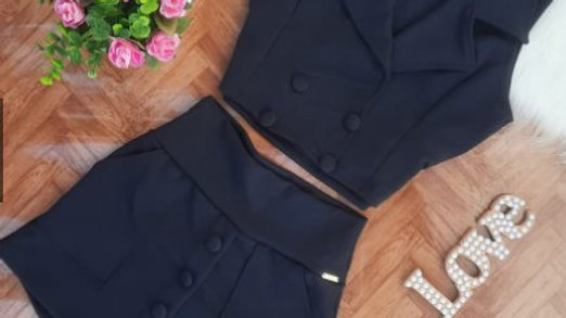 Conjunto Feminino Short Saia e Blusa Blazer Feminina Malha