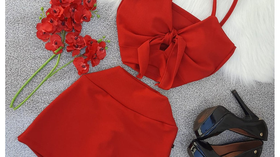 Cropped com Bojo Blusa feminina com Short Saia Crepe