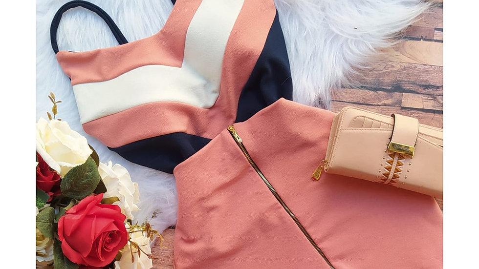 Conjunto feminino Casual Saia e Blusa Crepe Malha com Bojo c01