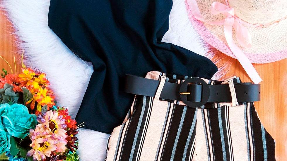 Conjuntinho feminino Short +Cinto + Blusa com Bojo C52
