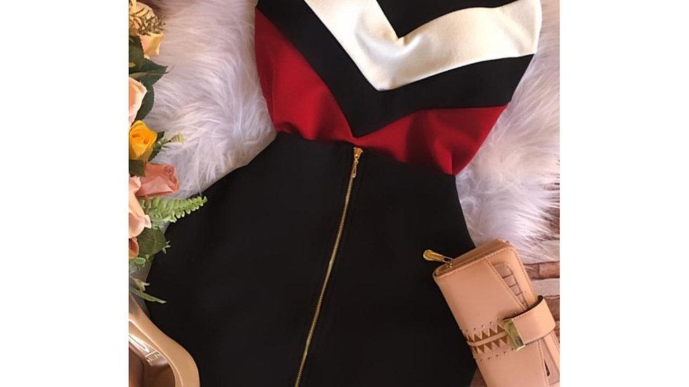 Conjunto Tricolor Saia Justa e Blusa Feminina Alça com Bojo