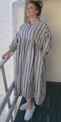 EDITH black & natural strip dress size L
