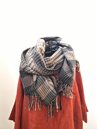 Cashmere scarf- Mocha Tartan