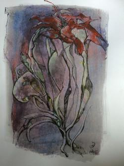 fiori rosso,acryl und tusche auf papier,din a 4,2016